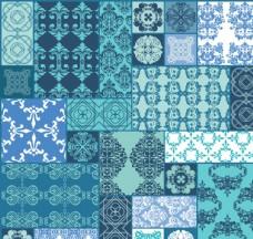 蓝色花纹拼接背景矢量素材