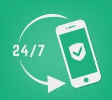 24小时手机防护标志
