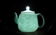 景德镇影青瓷茶壶灯光效果