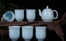 景德镇影青釉茶具套组