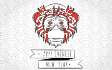 2016手绘猴子复古背景海报