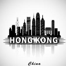 香港建筑群剪影矢量素材