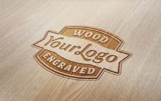 木板上的木纹烫银字体分层模板