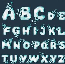 卡通冰雪字母