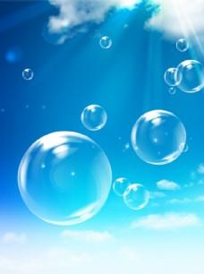 蓝天透明泡泡