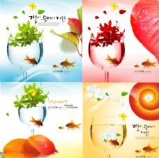楓葉金魚酒杯海報4幅