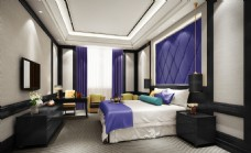 五星级酒店豪华单人房间效果图