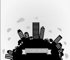 创意城市剪影背景矢量素材