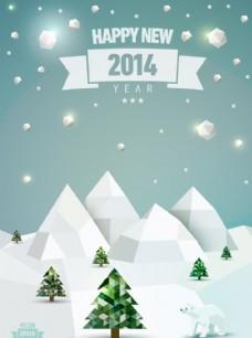 创意冬季雪景海报矢量素材