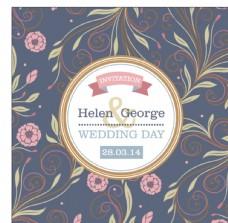 花朵樣式的婚禮卡