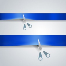 剪蓝色纸条的剪刀