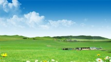 户外草原蓝天白云草地自然风景
