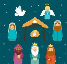 卡通基督诞生角色